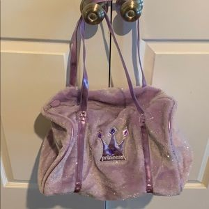 Lavender PRINCESS bag fuzzy outer/fabric lining